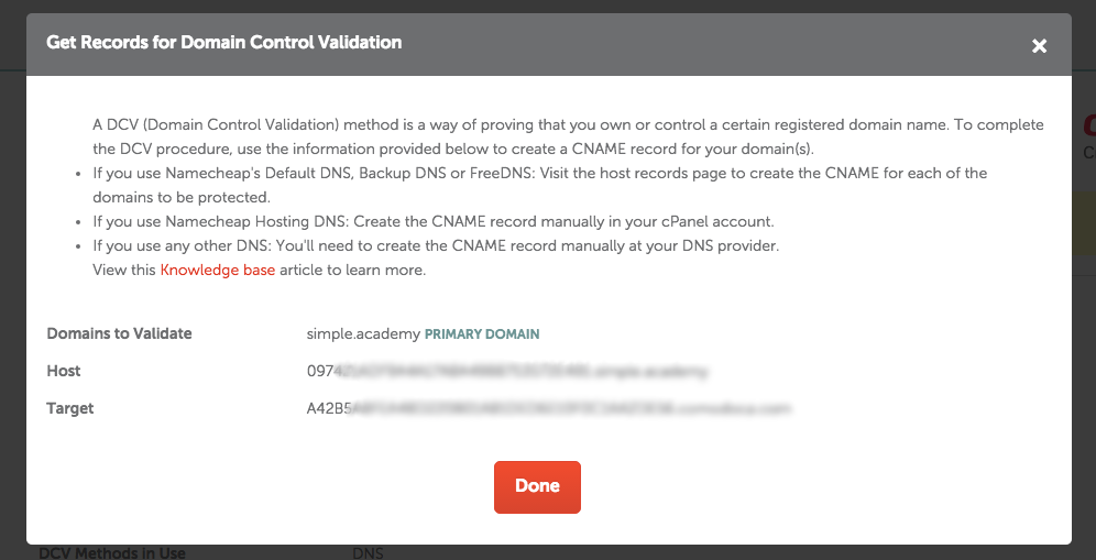 Domain Control Validation
