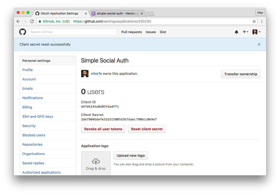 New GitHub OAuth Application