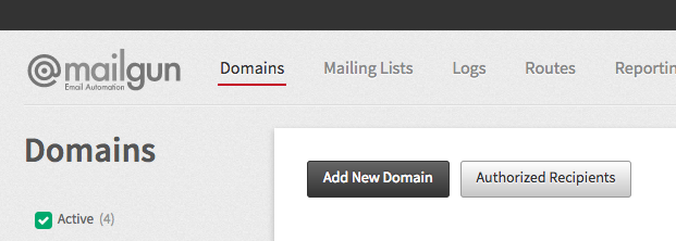 Add New Domain Button Screen Shot
