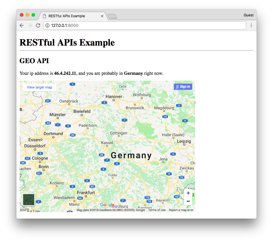 Google Maps API Germany