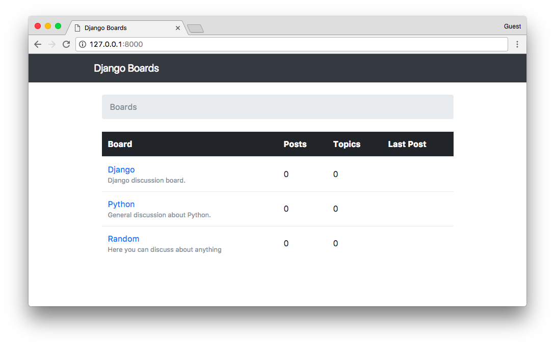 Django Boards Header