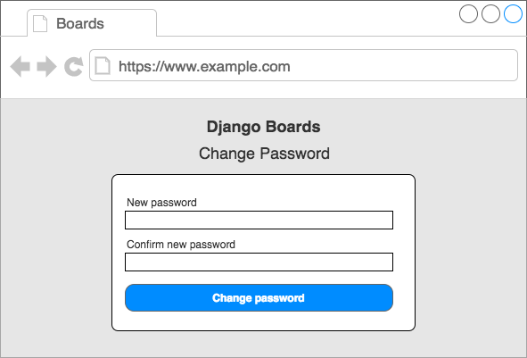 Wireframe change password page
