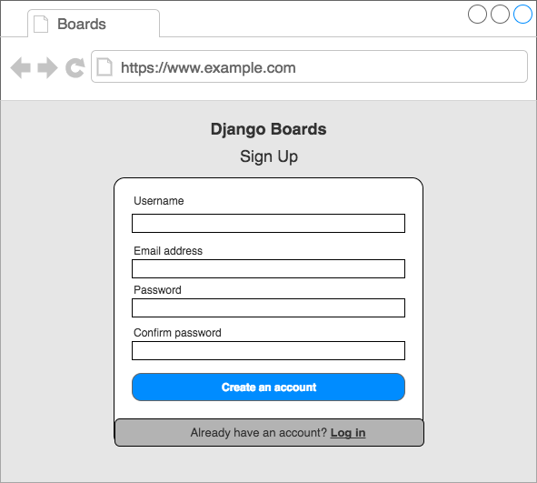 Wireframe sign up page